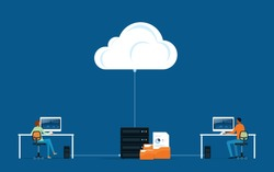 flat vector business technology storage cloud computing service concept with developer team working concept