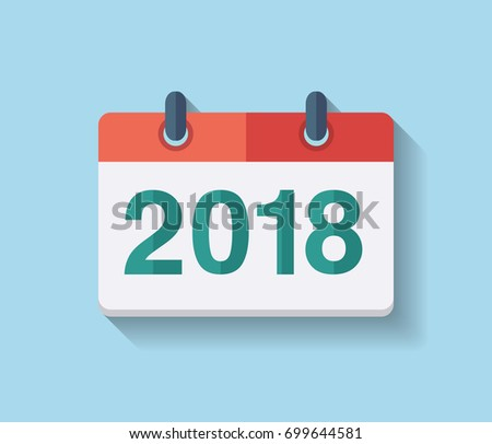 Flat vector calendar icon 2018. New year 2018