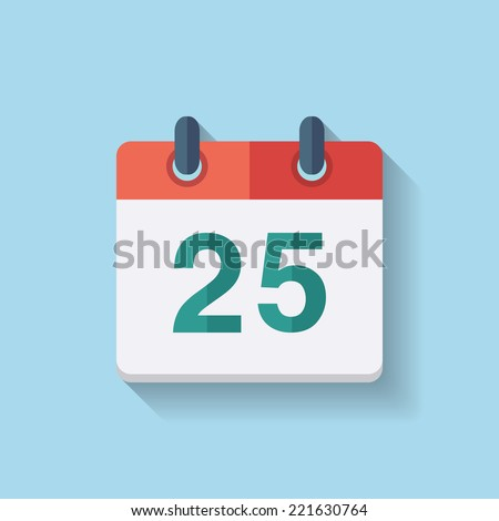 Flat vector calendar icon with the date 25th