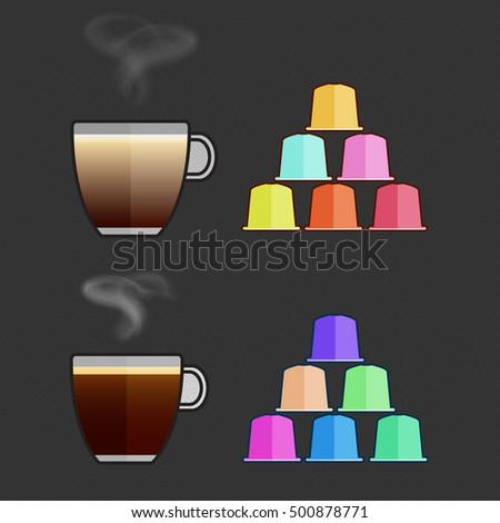 Flat vector cappuccino, espresso cups and capsules. Multicolored coffee pods for coffee machine. Espresso, cappuccino cup, pods. Trendy colorful capsules with different flavours, hot espresso.
