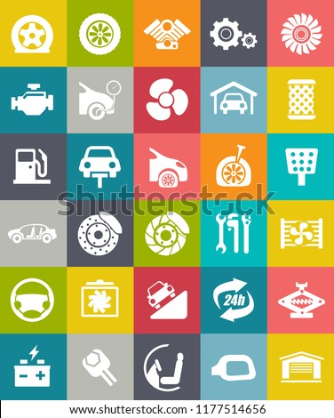 Flat vector car service Icons set - side mirror, electrical battery power, vehicle tools, engine, auto lifting, fan turbine, Gas fuel, garage, car seat, tire, insurance, filter, technical support, Rad