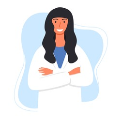 Flat vector cartoon illustration of a smiling female doctor in a white lab coat with her arms crossed.