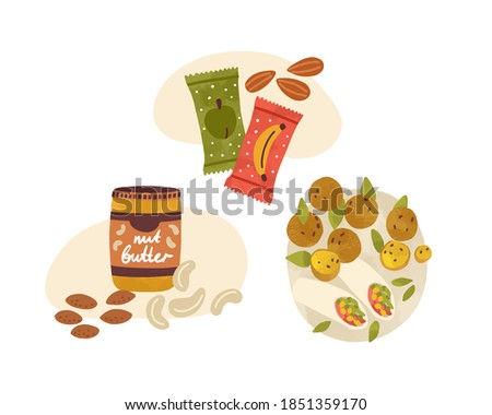 Flat vector cartoon illustration of vegetarian snacks and desserts. Vegan nutritious food composition isolated on white. Lunch with nuts, peanut butter, fruit energy bars and falafel wrap