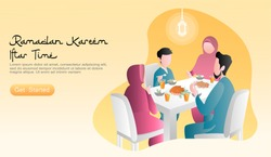 flat vector cartoon illustration ramadan kareem eating with family. happy family is iftar together, with food and drinks on the table lit by lanterns. sunset yellow background. website, landing page