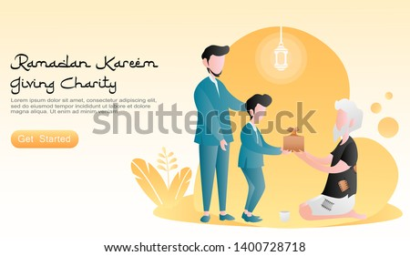 flat vector cartoon illustration ramadan kareem. Fathers and sons give gifts to people in need to the poor. concept of plants, lanterns, orange background. for landing page, banner, website, homepage
