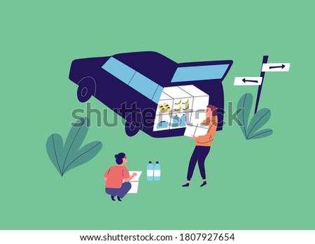 Flat vector cartoon illustration with young people unloading car. Couple near opened car trunk carry food product for camp. Squatting woman near box of water bottle Foto stock ©