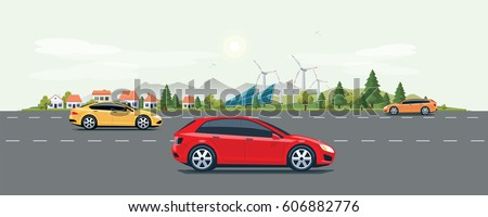 Flat vector cartoon style illustration of eco urban landscape street with cars, city buildings, family houses in small town. Solar panels, wind turbines and mountain with green trees in background.