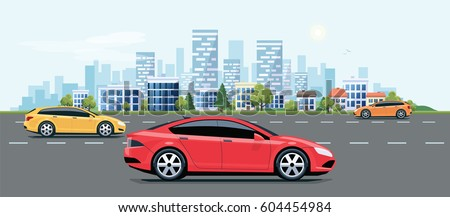 Flat vector cartoon style illustration of landscape street with electric cars, solar panels, wind turbines and mountain with green trees in background. Sustainable traffic on the road.