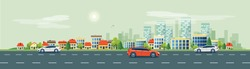 Flat vector cartoon style illustration of urban landscape road with cars, skyline city office buildings and family houses in small town village in backround. Traffic on the street.