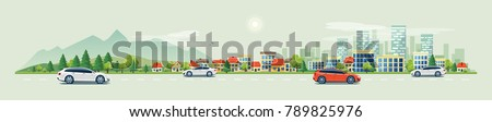 Flat vector cartoon style illustration of urban landscape road with cars, skyline city office buildings and family houses in small town village in backround with forest and mountain. Traffic on the st