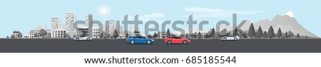 Flat vector cartoon style illustration of urban landscape street with cars, skyline city office buildings, family houses in small town and mountain with trees in background. Traffic on the road.