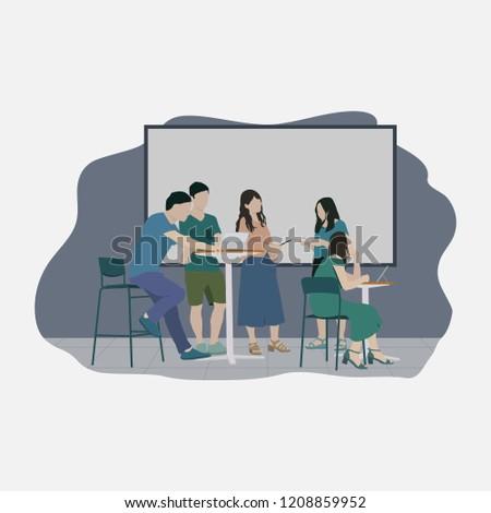 Flat Vector Casual Meeting Illustration