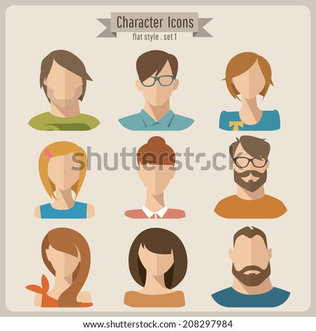 Flat vector characters