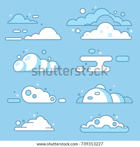 Flat vector cloud set. Blue sky with white clouds. Different shapes of clouds. Vector stock illustration.
