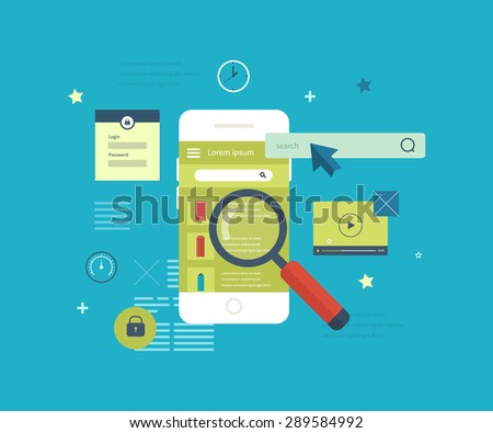 Flat vector collection of modern mobile phones with different user interface elements. Mobile application to search for real estate.