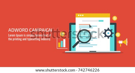 Flat vector concept for Adword campaign, Search marketing, PPC advertising banner with icons and texts