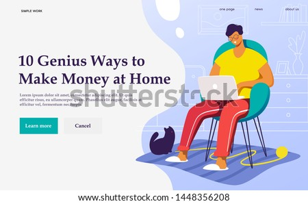 Flat vector concept illustration. A freelancer  working at home with cat. Creative landing web page design template banner.