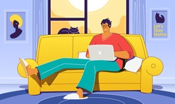 Flat vector concept illustration on the themes: freelance, make money at home, earn in internet, success, remote work. A freelancer working at home with cat.