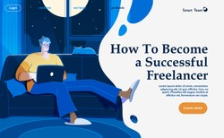 Flat vector concept illustration on the themes: freelance, make money at home, earn in internet, success, remote work. A freelancer working at home with cat. Creative landing web page design image.