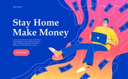 Flat vector concept illustration on the themes: freelance, make money at home, earn in internet, success, remote work. A freelancer working at home. Creative landing web page design image.