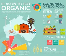 Flat vector concept infographic design elements: illustration of the reasons to buy environmentally friendly bio food. Eating natural health products, the development of farming. Eco organic economics