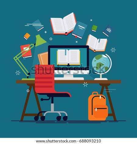Flat vector concept on e-learning and online education. E-books, internet courses and graduation process. ideal for online teaching themed banners, publications, social media posts