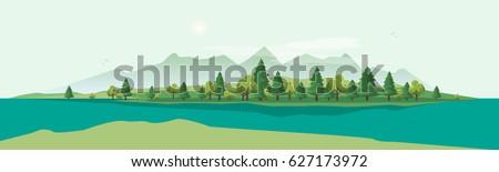 flat vector countryside cartoon