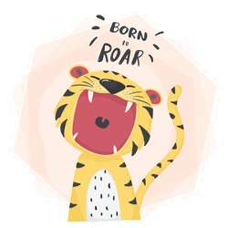 flat vector cute tiger open mouth roar, born to roar, cute animal character idea for child and kid printable stuff and t shirt, greeting card, nursery wall art, postcard