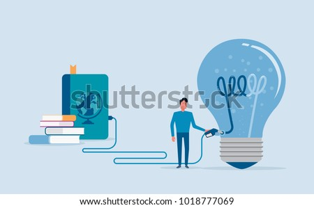 flat vector design  for creative fill up and brain power concept with businessman character knowledge  fill up concept