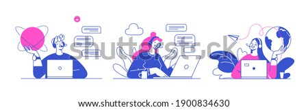 Flat vector design illustrations, technical support assistant, customer and operator vector. Customer service, hotline operator advises customer, online global technical support 247.