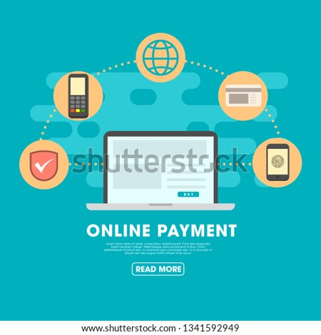 Flat vector design with e-commerce and online shopping icons and elements for mobile story. Symbols of shop, online payment, customer service and delivery  #1341592949