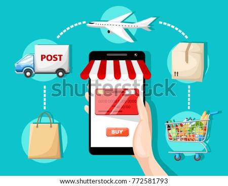 Flat vector design with e-commerce and online shopping icons and elements for mobile story symbols of shop online payment customer service and delivery website page and mobile app design.