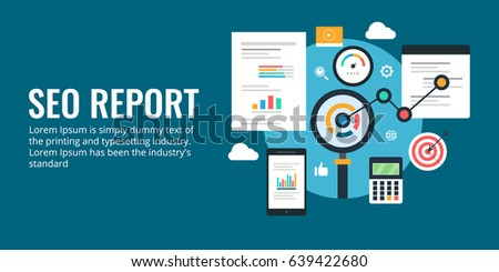 Flat vector for SEO report, Web analytics, website performance audit banner isolated on dark background