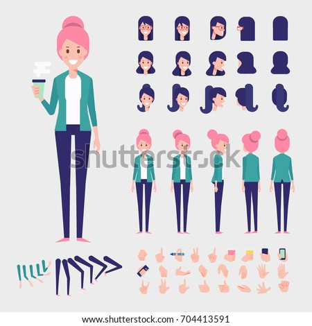 Flat Vector Girl character for your scenes. Character creation set with various views, hairstyles and poses. Parts of body template for design work and animation.