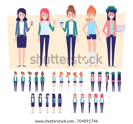 Flat Vector Girls  for your scenes. Front, side, back view characters for animation.
