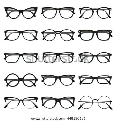 flat vector glasses big set