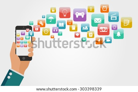 Flat Vector Hand with a Phone, A Lot of Colorful Icons for Mobile Applications