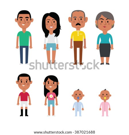 flat vector hispanic family