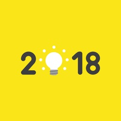 Flat vector icon concept of year of 2018 with glowing light bulb on yellow background.