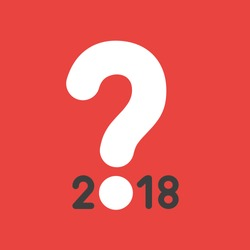 Flat vector icon concept of year of 2018 with question mark on red background.