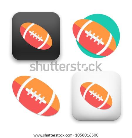 flat Vector icon - illustration of american football ball icon