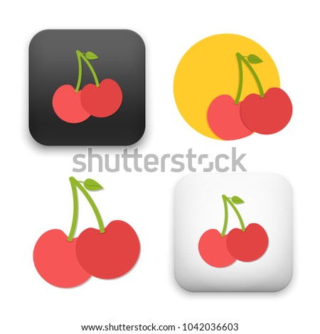 flat Vector icon - illustration of cherry fruit icon
