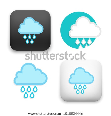 flat Vector icon - illustration of cloud and drops icon