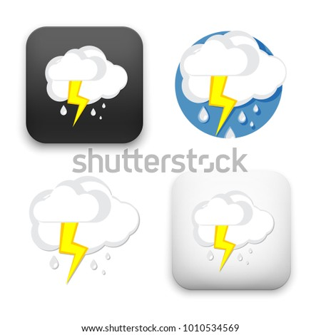 flat Vector icon - illustration of cloud and lightning icon