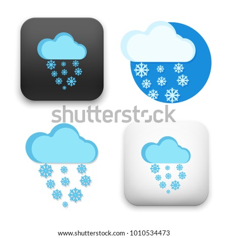 flat Vector icon - illustration of cloud and snowflakes icon