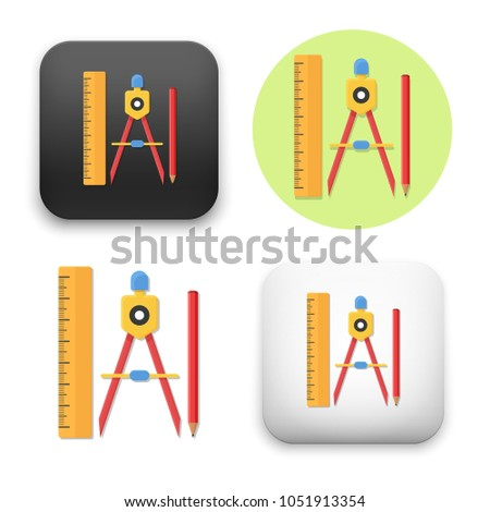 flat Vector icon - illustration of Drawing Compass Pencil and Ruler icon