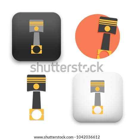 flat Vector icon - illustration of engine piston icon