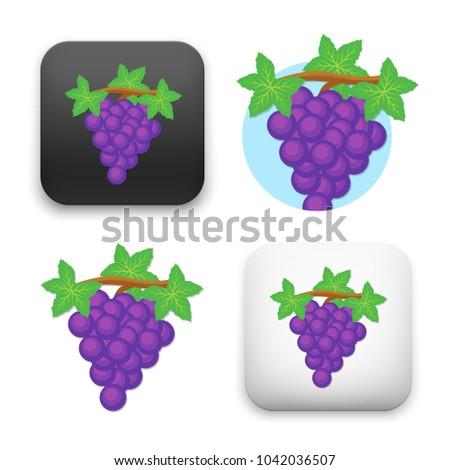 flat Vector icon - illustration of grape fruit icon