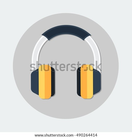 flat Vector icon - illustration of Headphones icon