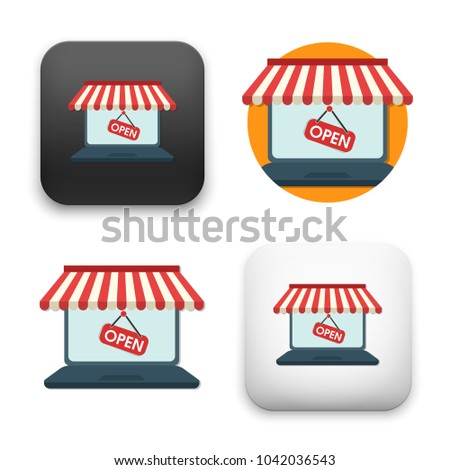 flat Vector icon - illustration of On line store icon